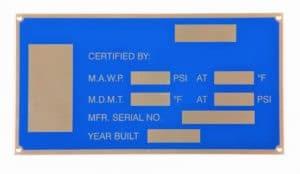 Blue Screen Printed Metal Nameplate